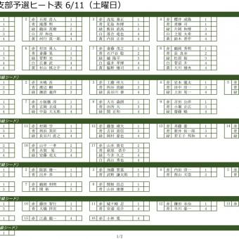2016 東京支部予選ヒート表 6/11(土曜日)